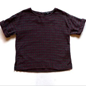 Madewell Boxy Tee Top in Plaid Multicolor Size XS